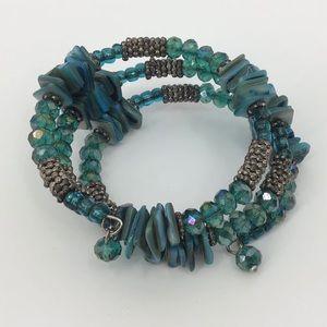 Turquoise Wrap-Style Beaded Bracelet